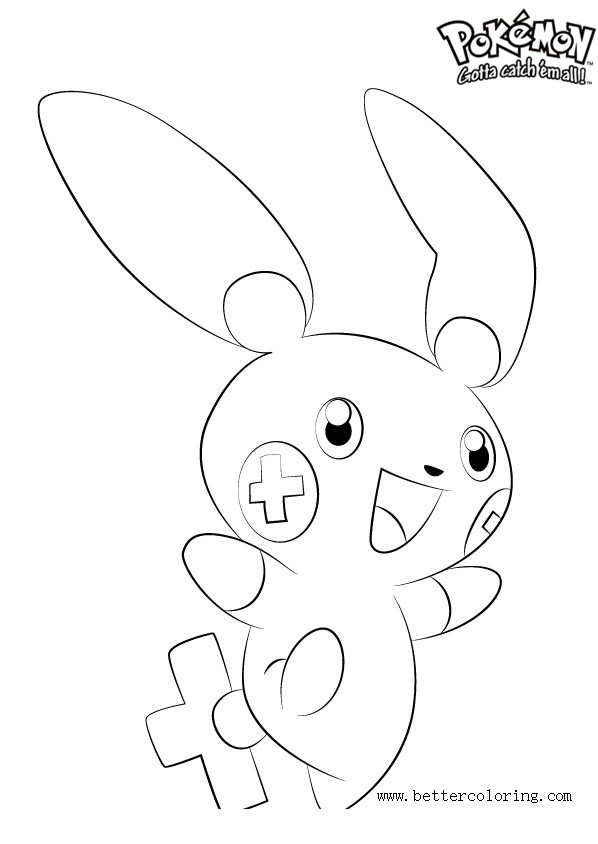 Free Pokemon Coloring Pages Plusle printable