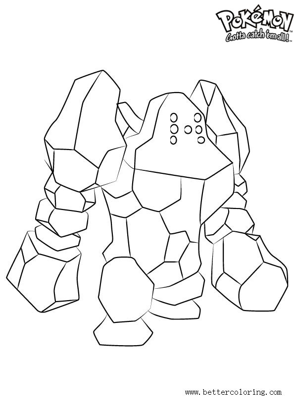 Free Pokemon Coloring Pages Regirock printable