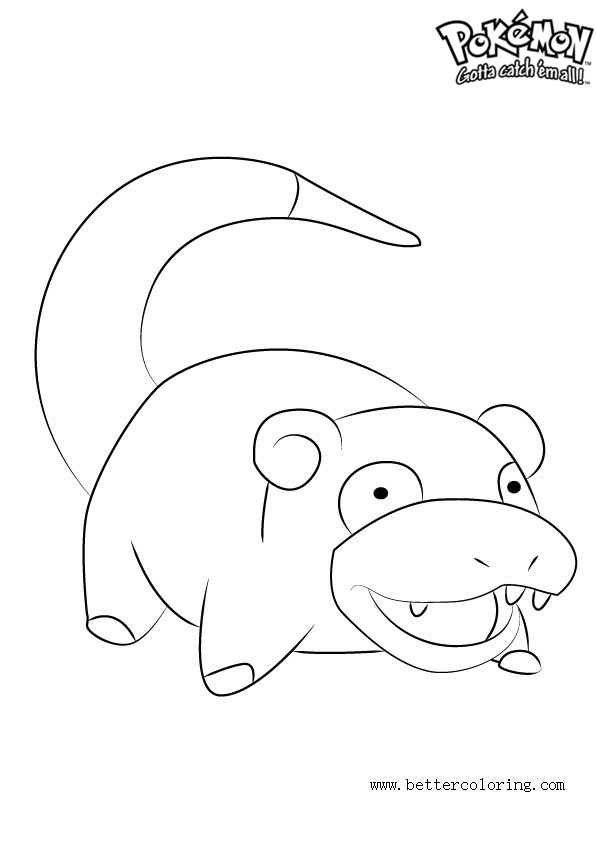 Free pokemon coloring pages slowpoke printable for kids and adults