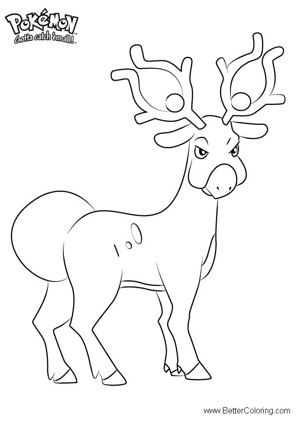 Free Pokemon Coloring Pages Stantler printable
