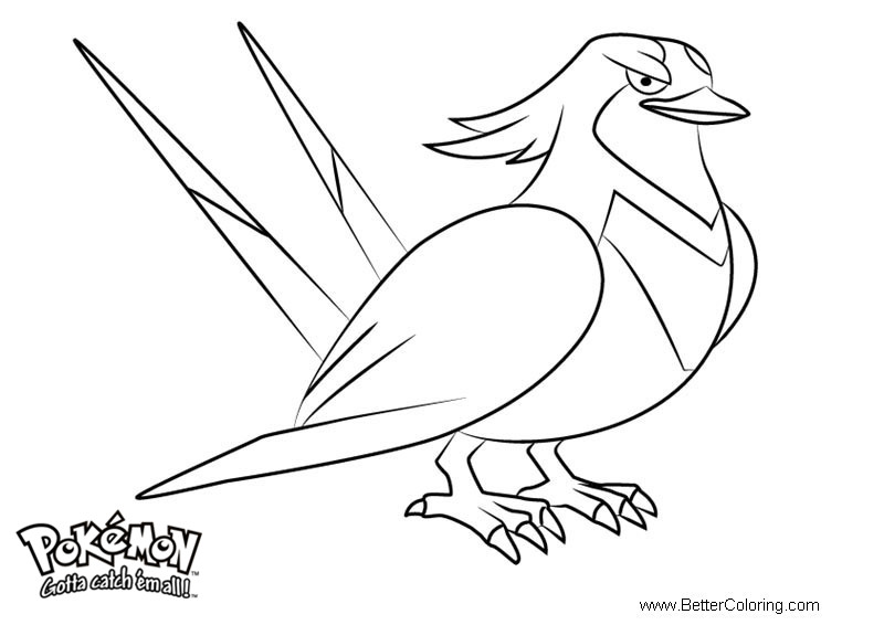Free Pokemon Coloring Pages Swellow printable