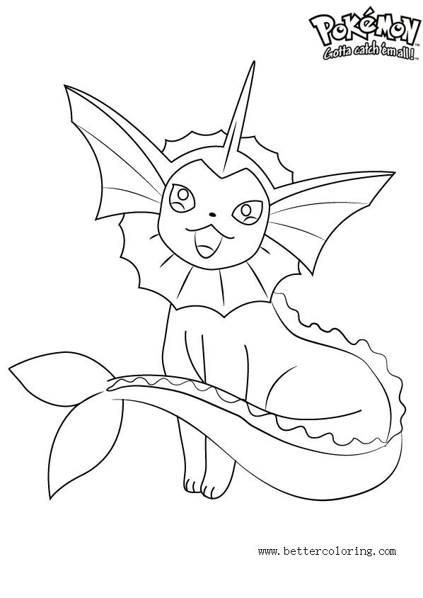 Pokemon Coloring Pages Vaporeon Free Printable Coloring Pages