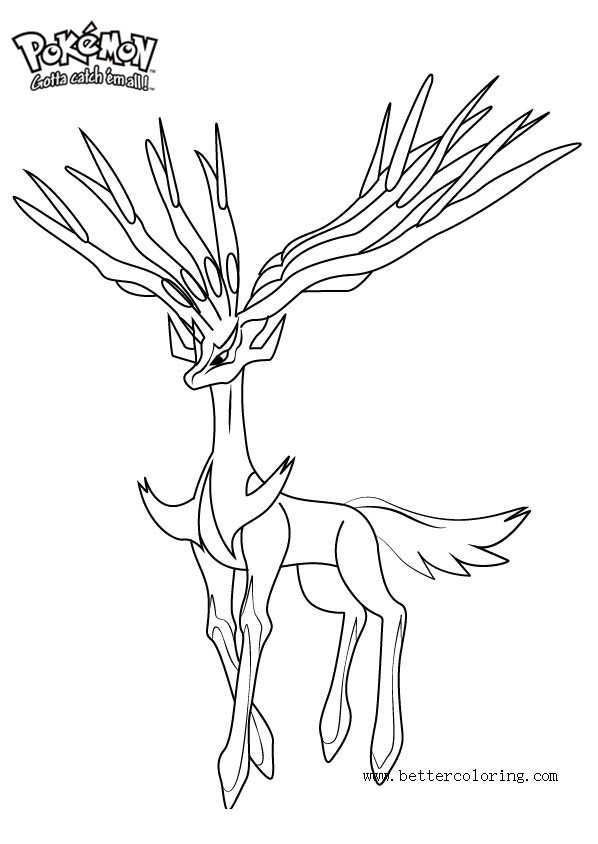 free pokemon coloring pages xerneas printable for kids and adults