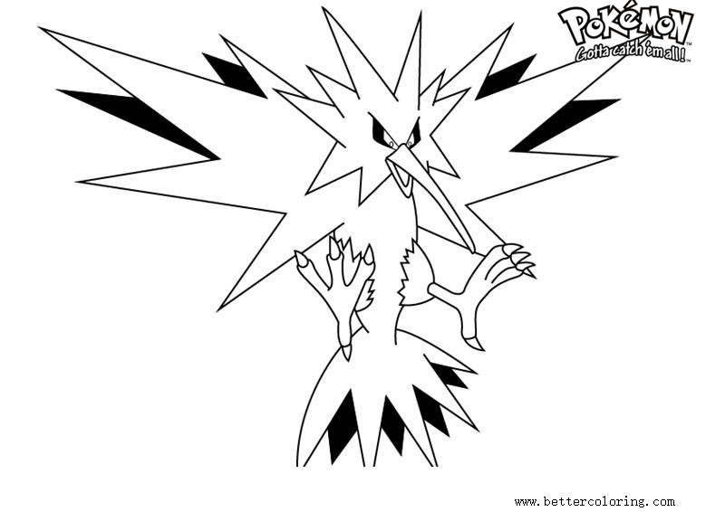 free pokemon coloring pages zapdos printable for kids and adults