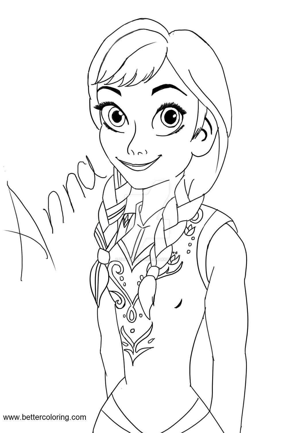 Princess Anna Coloring Pages Lineart By Elihedgie95 Free Printable