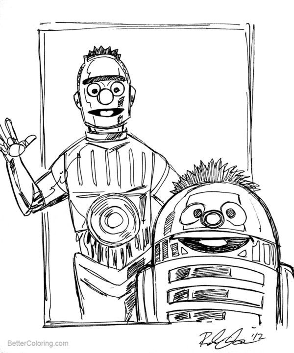 Free R2D2 Coloring Pages Bert and Ernie as C3PO R2D2 by Rebekah Isaacs printable
