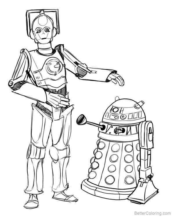 free r2d2 coloring pages cyberman c3po dalek r2d2 by keefy printable for kids and adults