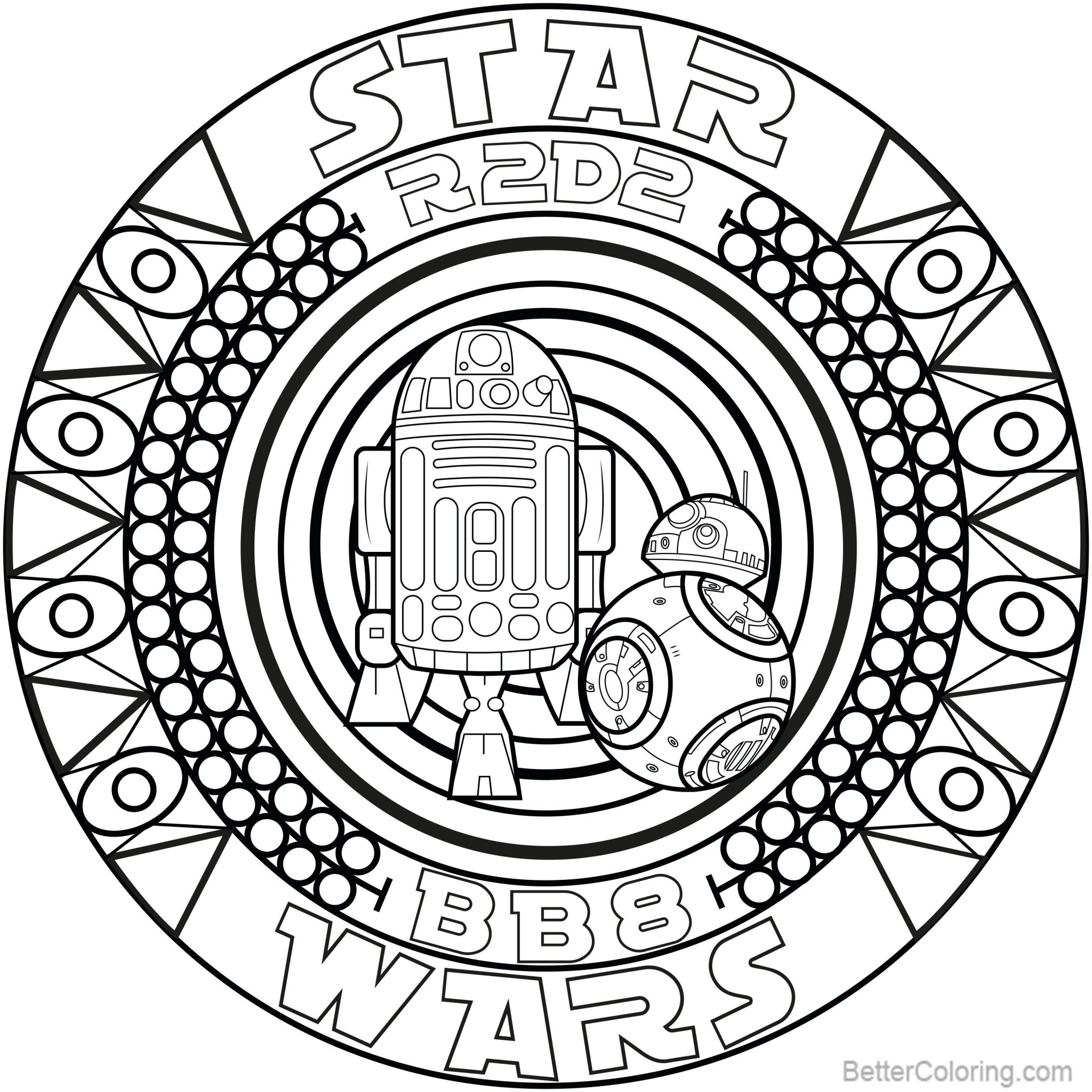 R2D2 Coloring Pages Mandala with bb8 by Allan - Free Printable ...