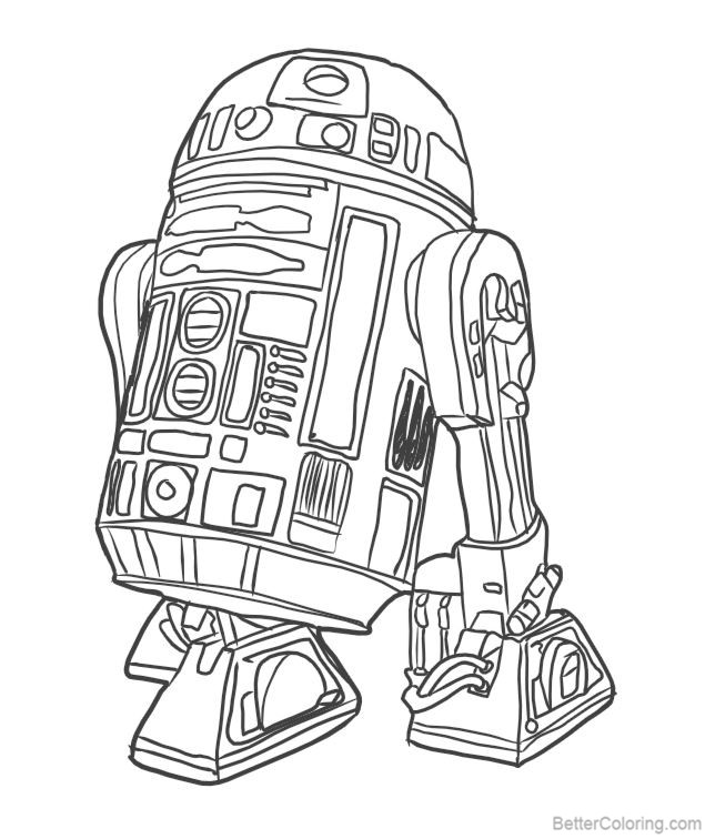 R2D2 Coloring Pages Sketch by Luna Abyss - Free Printable Coloring Pages