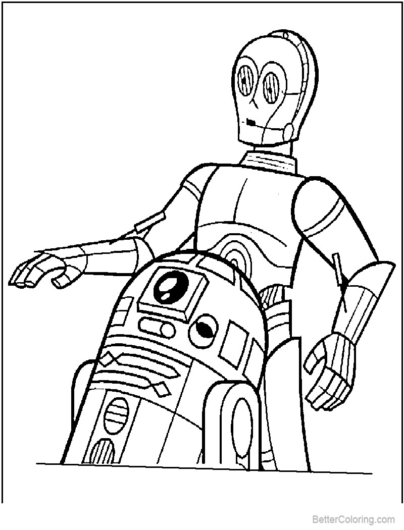 R2D2 Coloring Pages from Star Wars Free Printable