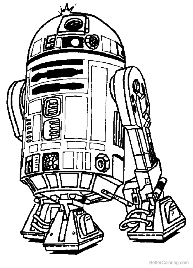 Free R2d2 Coloring Pages Black and White printable