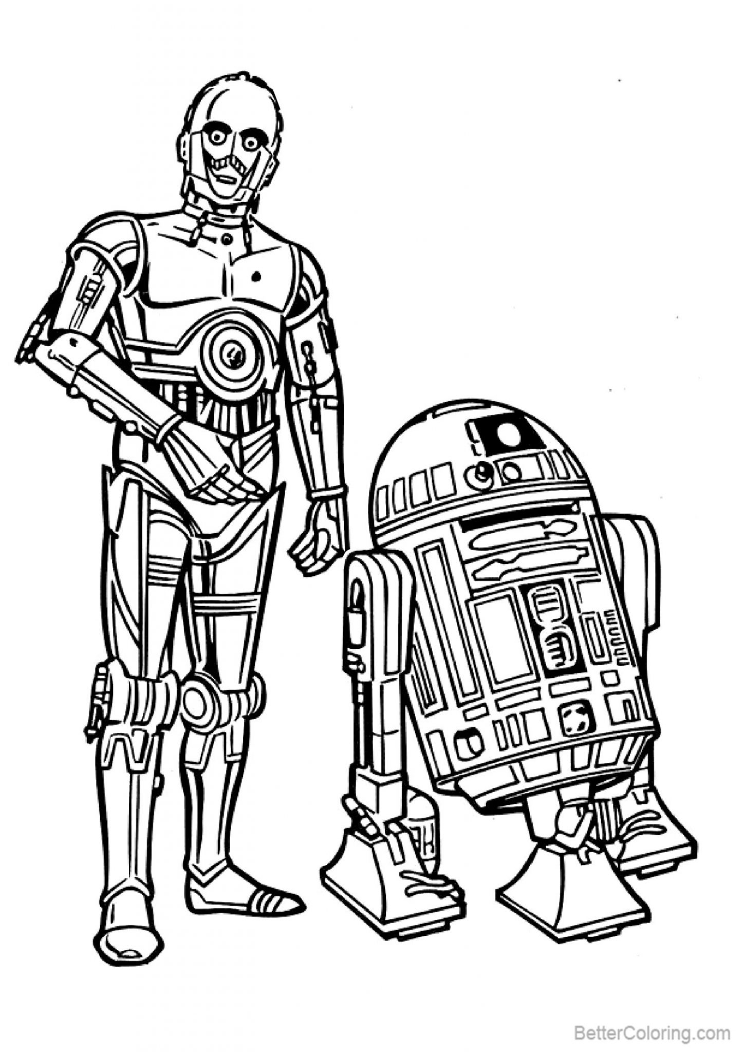 R2d2 Coloring Pages with Robot Man - Free Printable ...