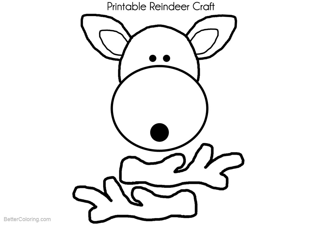 Reindeer Coloring Pages Craft Template - Free Printable Coloring Pages