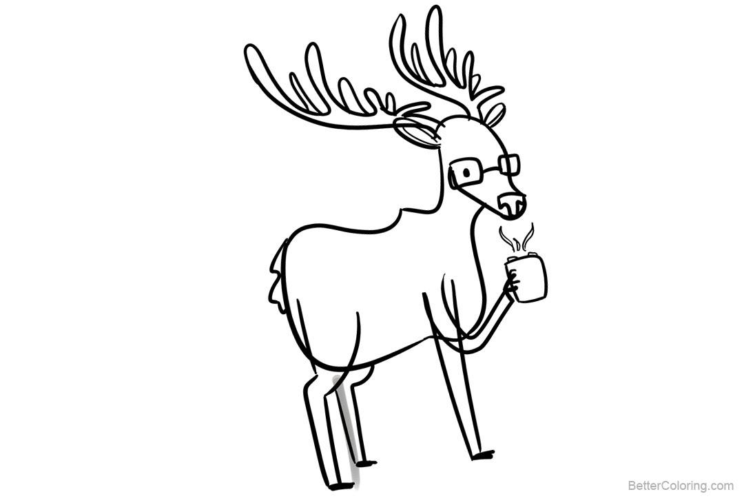 Free Reindeer Coloring Pages Drinking Chocolate printable
