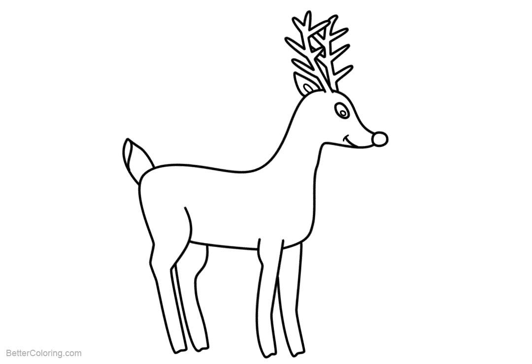 Free Reindeer Coloring Pages Easy Drawing printable