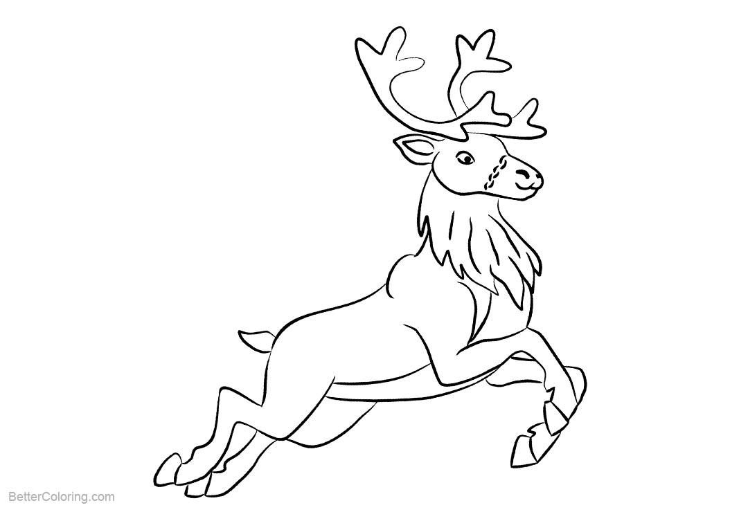 Free Reindeer Coloring Pages Jumping printable