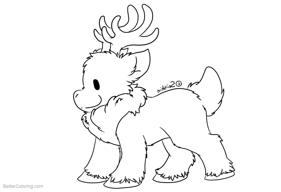 Free Reindeer Coloring Pages Lines by seiishin printable