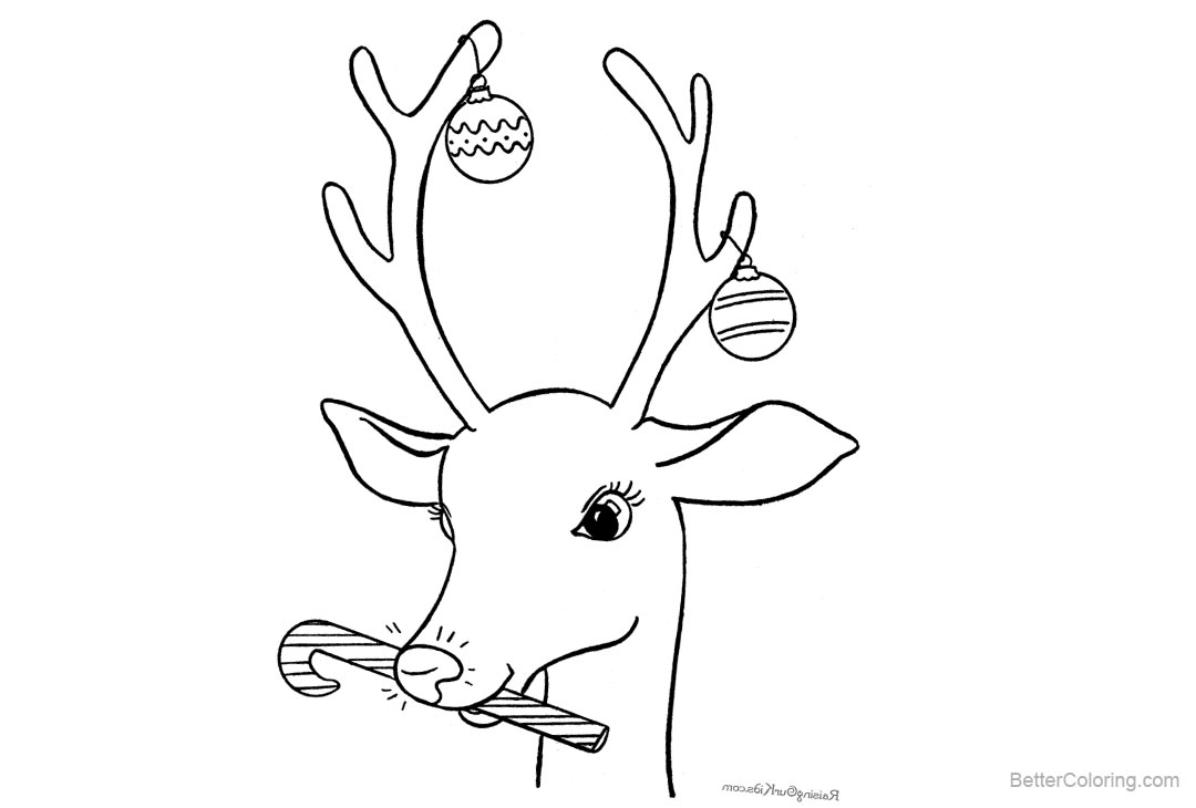 Reindeer Coloring Pages Merry Christmas