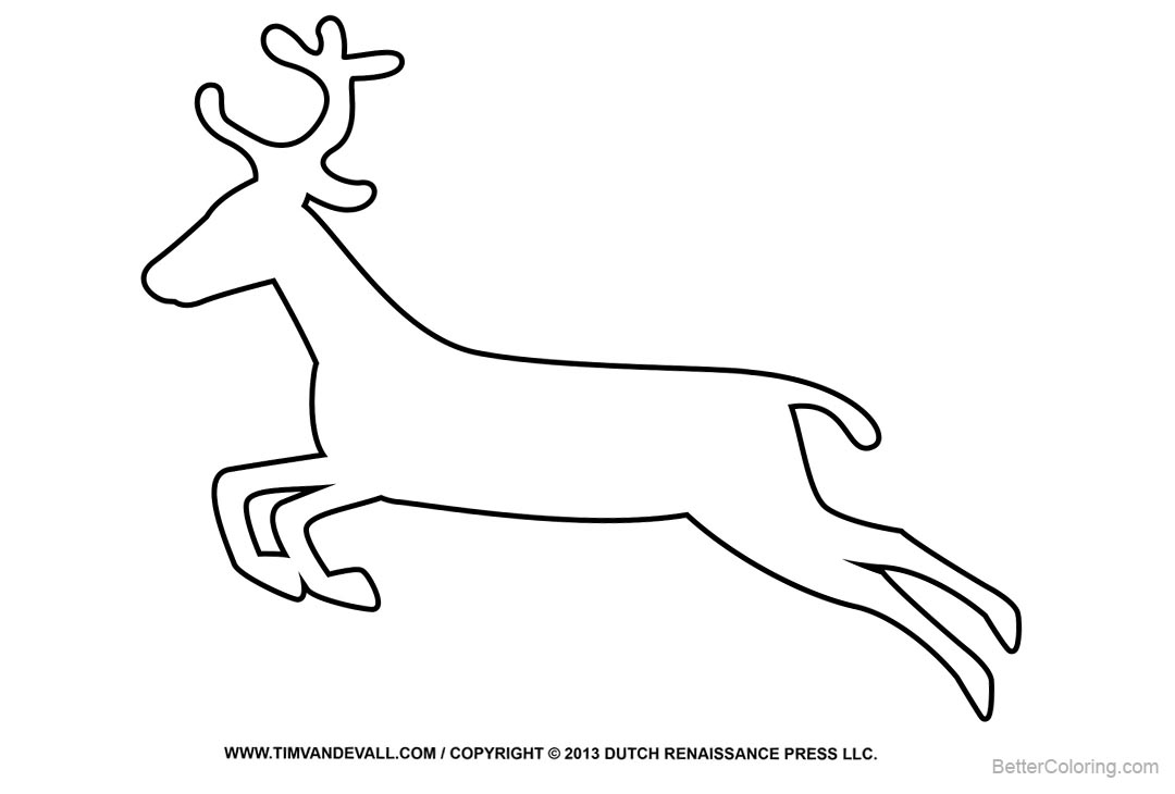 Free Reindeer Coloring Pages Outline Drawing printable