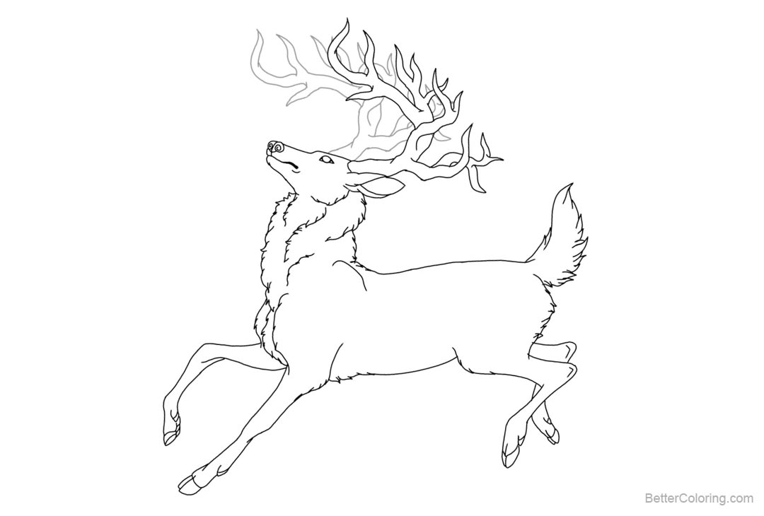 Free Reindeer Coloring Pages Stag Lineart Redone by Rizaharmona printable