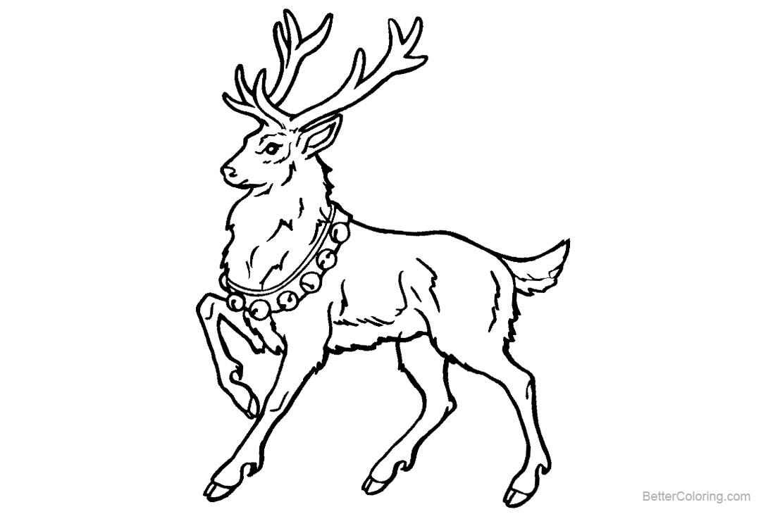 Free Reindeer Coloring Pages with Bells printable