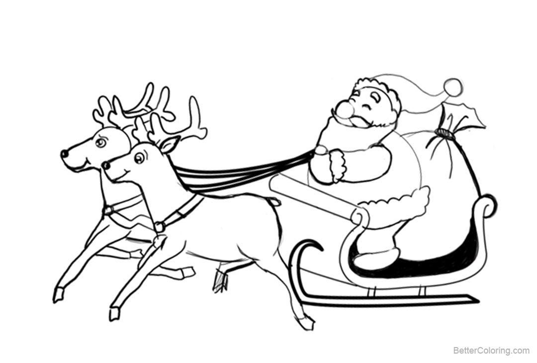 Free Reindeer Coloring Pages with Christmas Santa printable