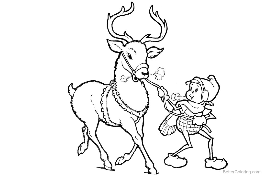 Reindeer Coloring Pages with Elf - Free Printable Coloring Pages