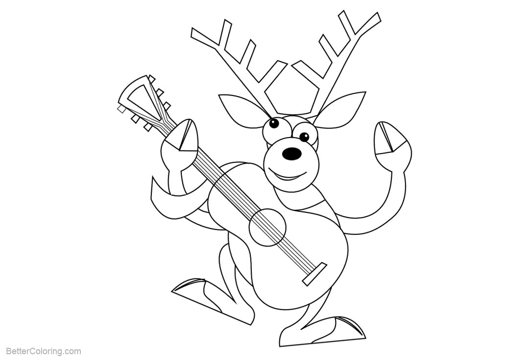 Free Reindeer Coloring Pages with Guitar printable