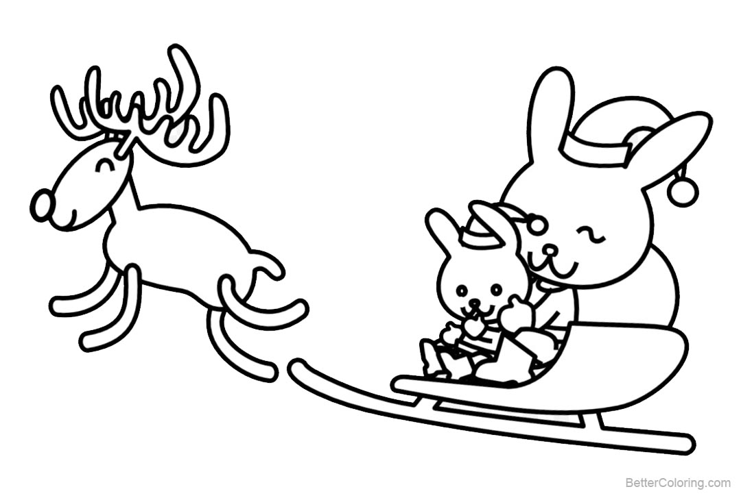 Reindeer Coloring Pages with Rabbits - Free Printable Coloring Pages