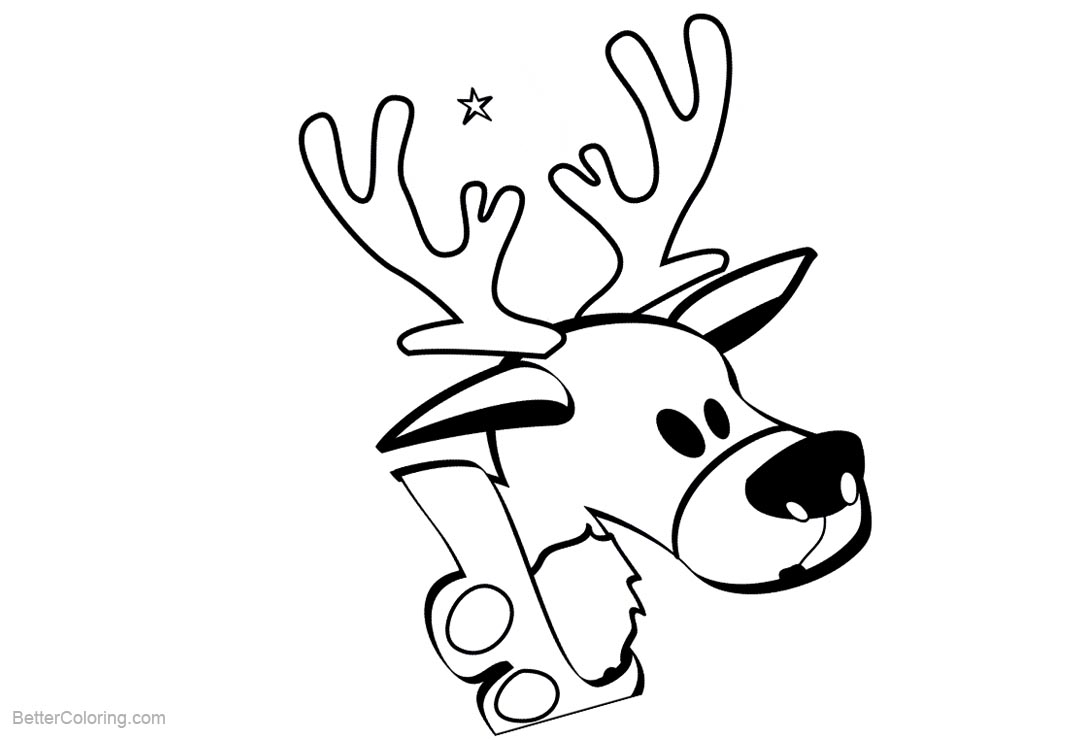 Free Reindeer Head Coloring Pages printable
