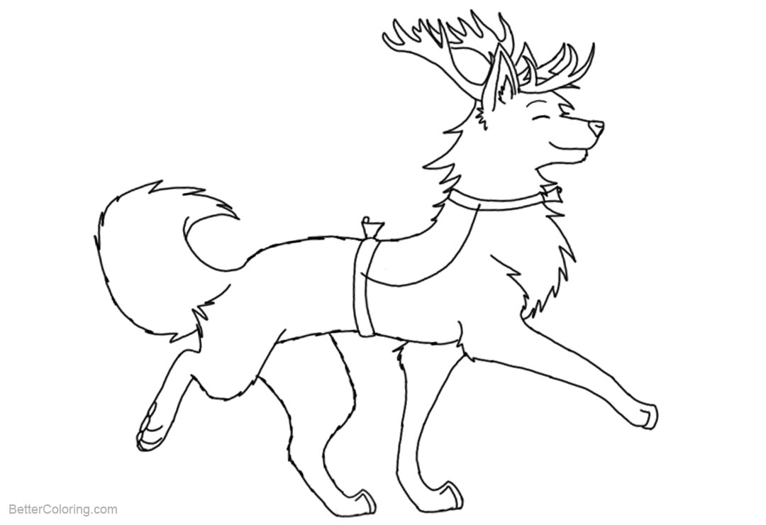 Free Reindeer Wolf Coloring Pages Lineart by echophobia printable