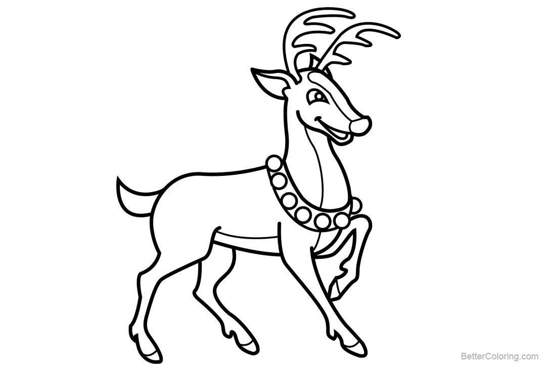 Free Santa Reindeer Coloring Pages printable