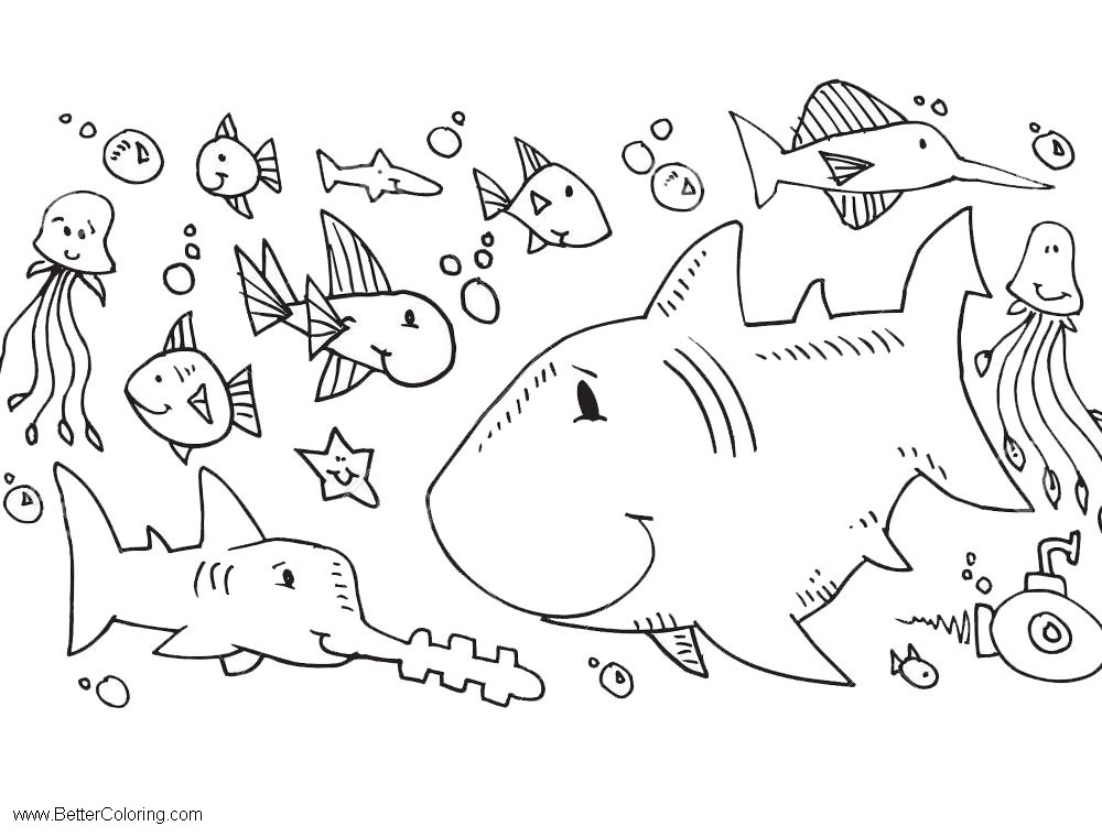 Sea Creatures Under The Sea Coloring Pages - Free Printable Coloring ...