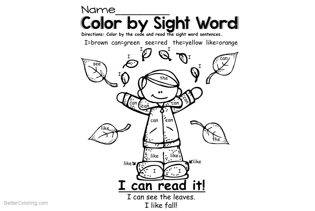 Sight Word Coloring Pages Autumn - Free Printable Coloring Pages