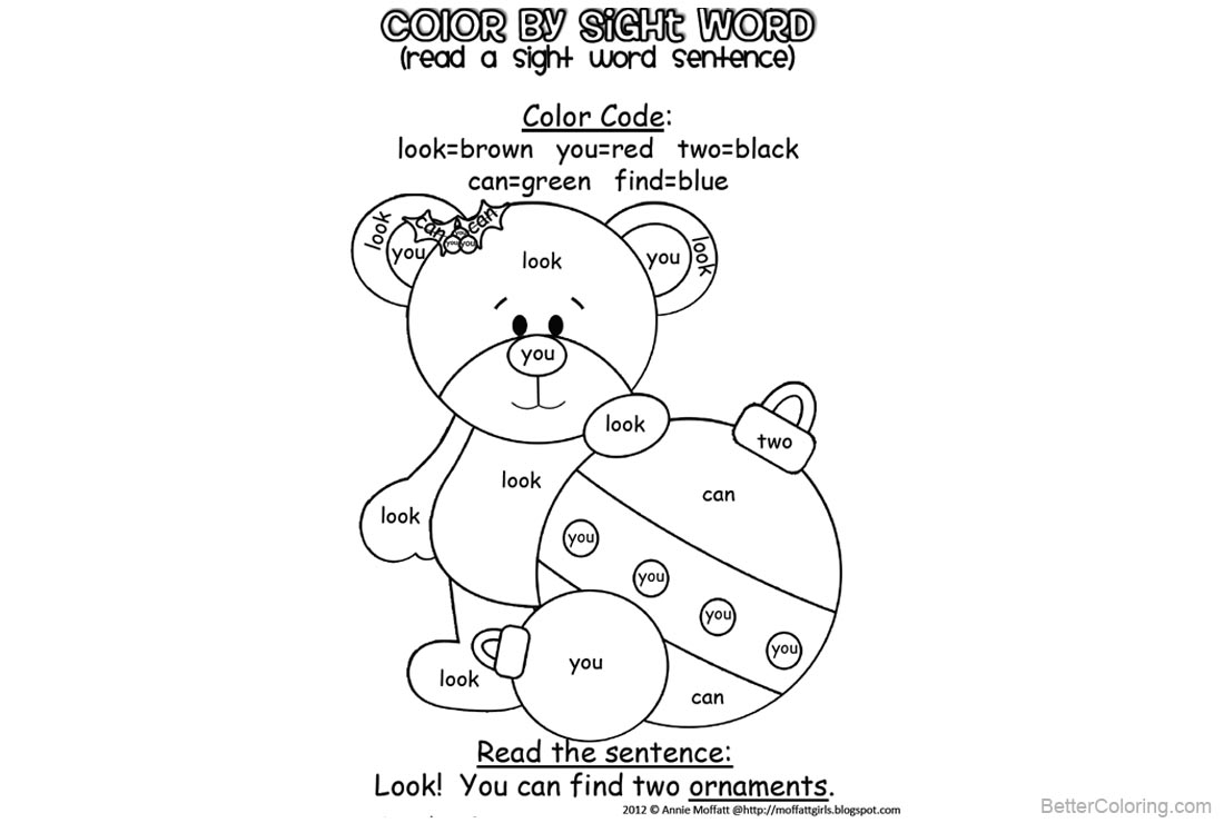 Sight Word Coloring Pages Bear and Two Ornaments - Free Printable ...