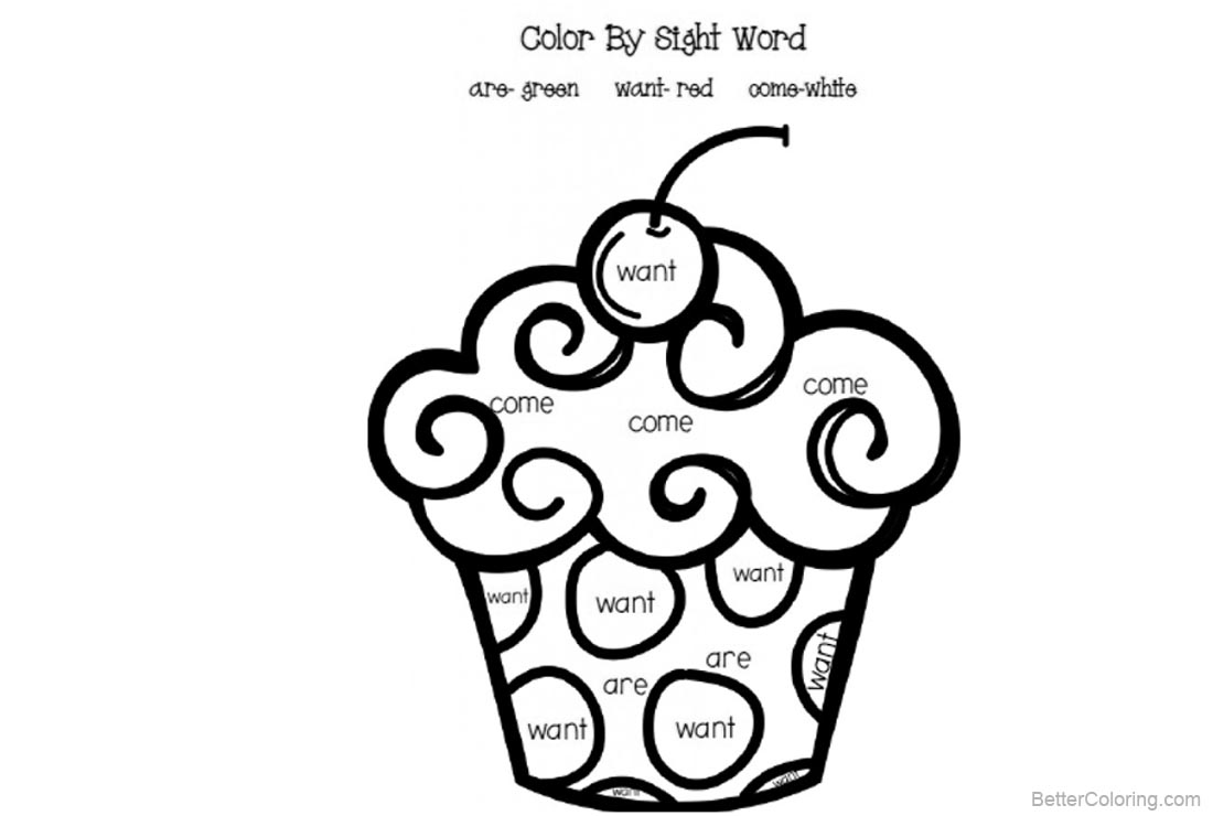 Free Sight Word Coloring Pages Cupcake Worksheets printable