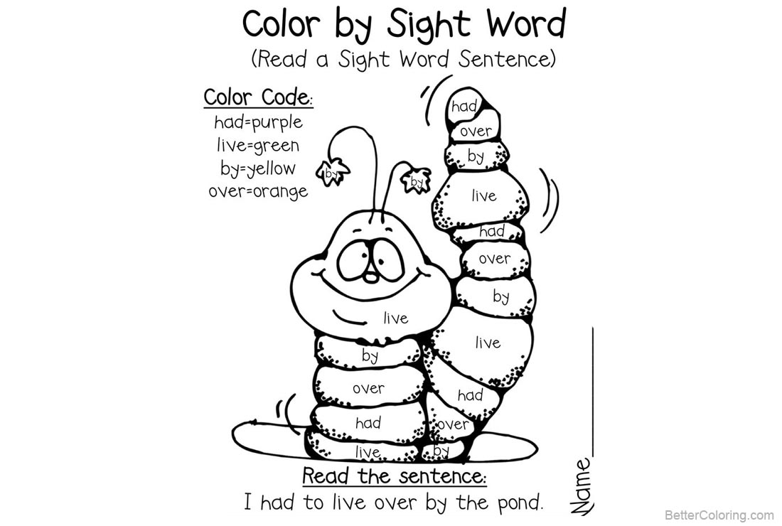 Sight Word Coloring Pages Cute Caterpillar - Free Printable Coloring ...