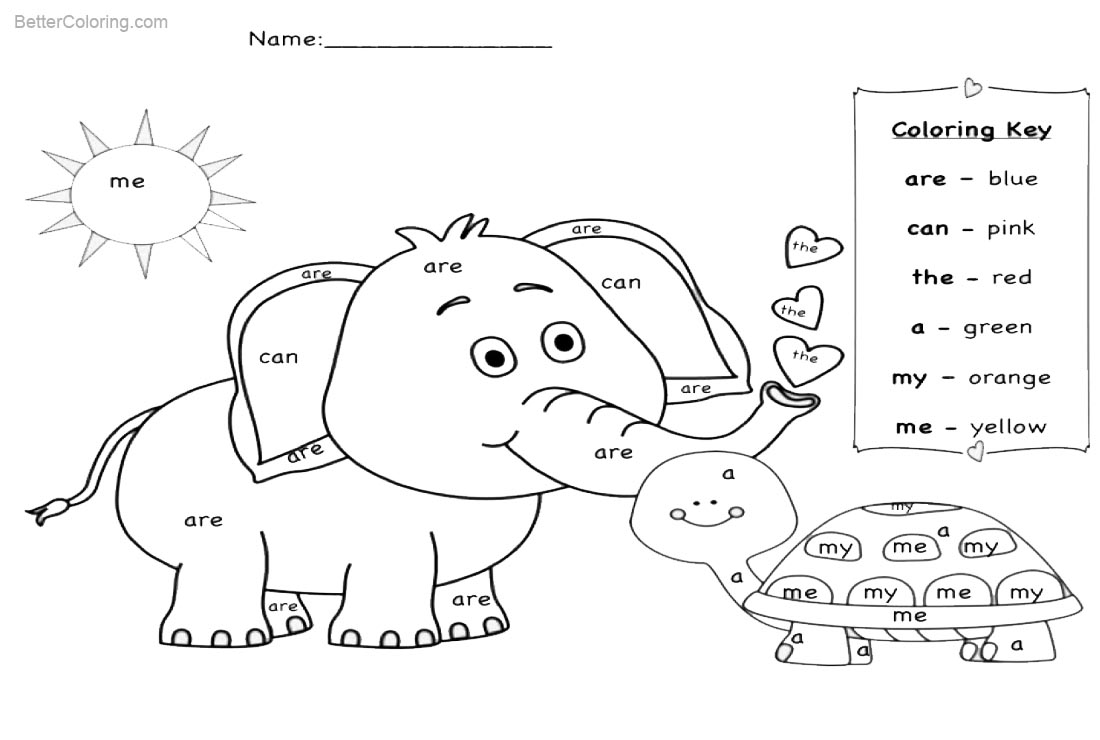 Sight Word Coloring Pages Elephant and Turtle - Free Printable ...