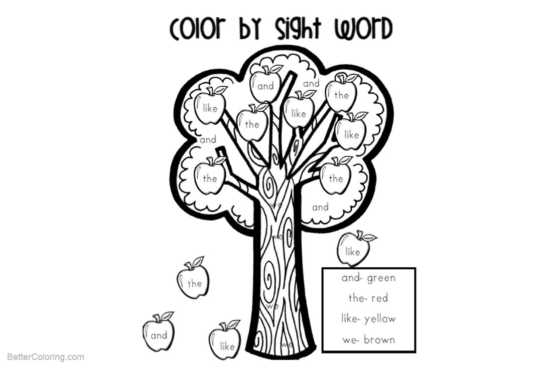 Sight Word Coloring Pages First Grade Apple Tree - Free Printable ...