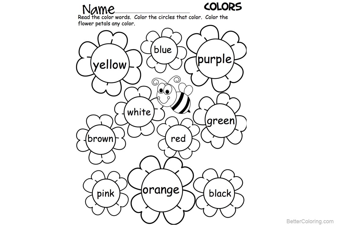 Sight Word Coloring Pages Flowers and Bee Worksheets - Free ...