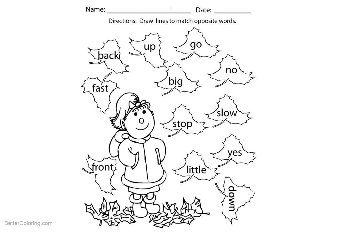 Free Sight Word Coloring Pages Girl and Autumn Leaves printable