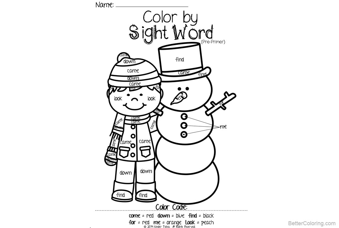 Free Sight Word Coloring Pages Kid and Snowman printable