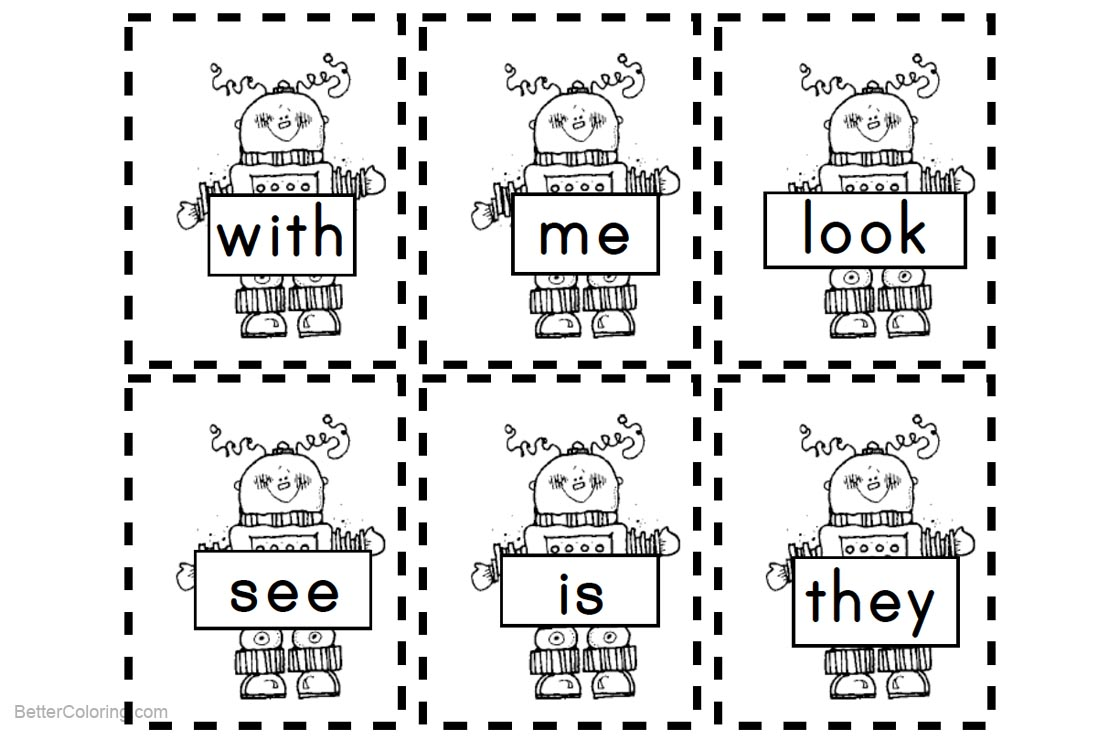 Sight Word Coloring Pages Robots - Free Printable Coloring Pages