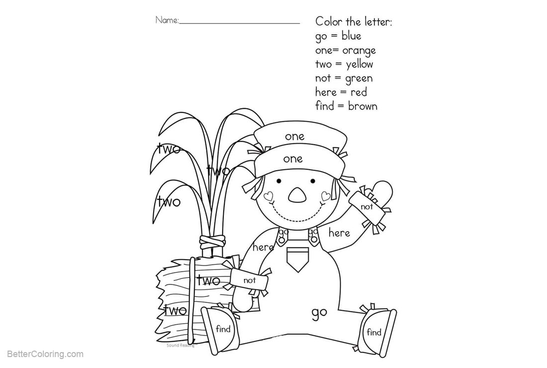 Sight Word Coloring Pages Scarecrow - Free Printable Coloring Pages