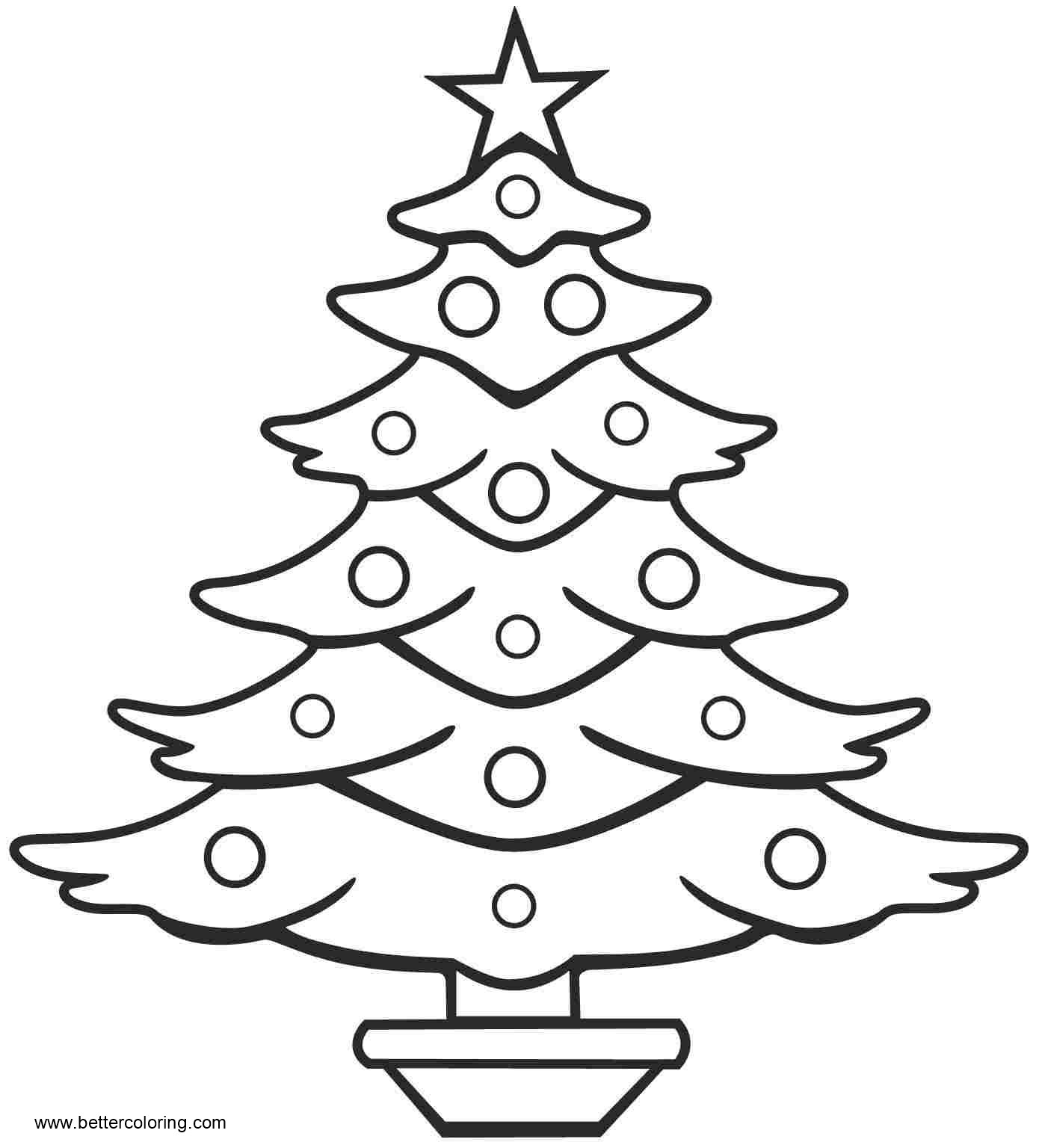 Free Simple Christmas Tree Coloring Pages Line Art printable
