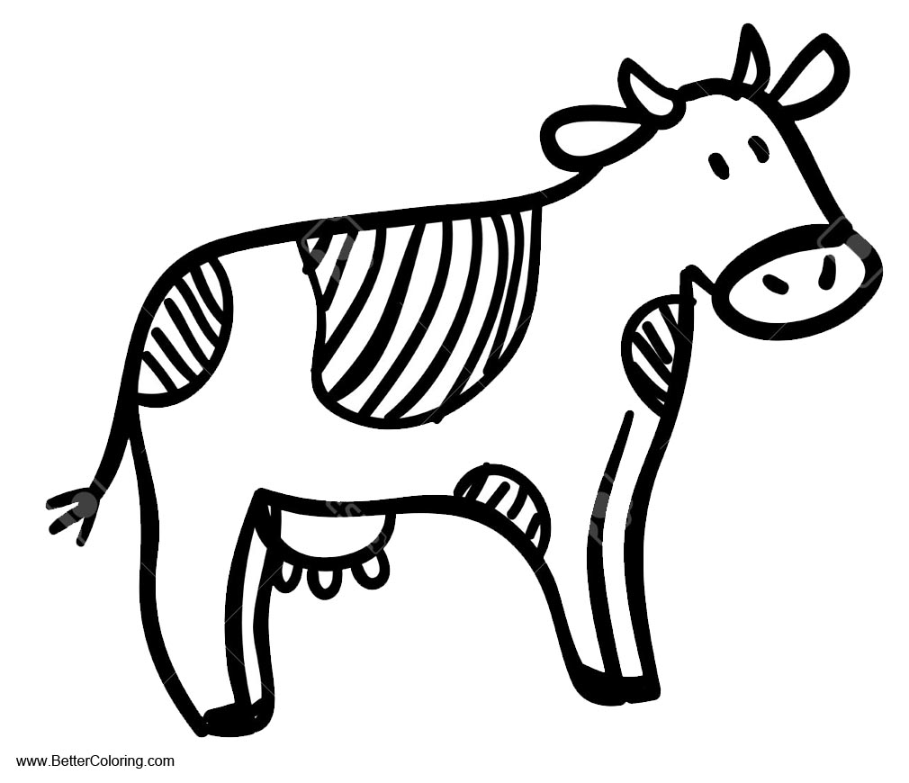 Simple Cow Coloring Pages Free