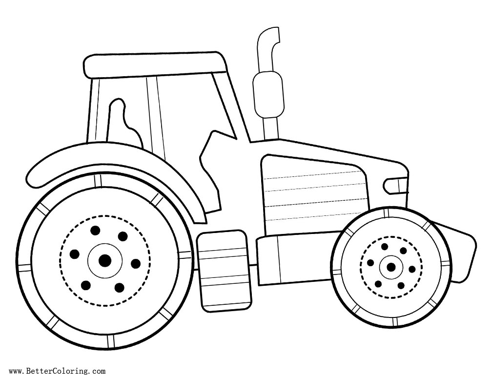 Free Simple Tractor Coloring Pages for Preschool Kids printable
