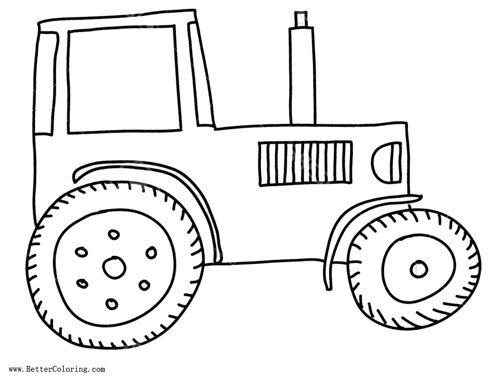 Free Simple Tractor Coloring Pages printable