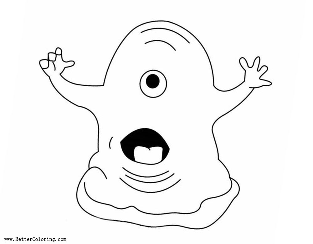 Free Slime Coloring Pages Scared printable