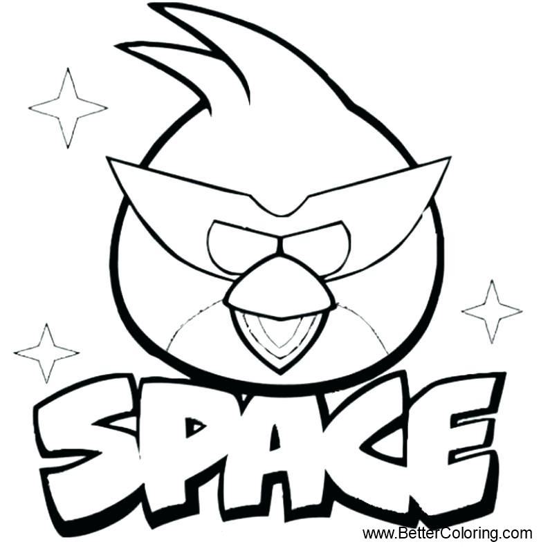 Free Space Angry Birds Coloring Pages printable